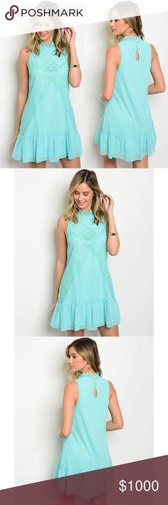 LAST 2❣️Mint Crochet Mock Neck Dress Mint Crochet Mock Neck Dress. Fully lined under the dress. Small Key Hole in the back. No Trades. Price is Firm Unless Bundled. GlamVault Dresses