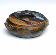 Stoneware Pottery  Casserole Dish with Lid. $62.00, via Etsy.