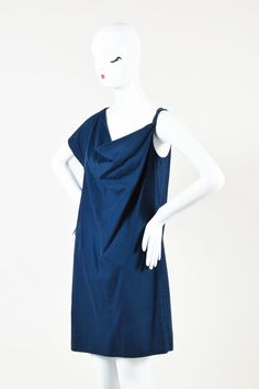 46b3910ff92 Item Specifics & Details: Blue shift dress. Constructed of a linen blend.  One