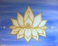 Jewel in the Lotus Om lotus painting acrylic by BluebirdBlackjack, $63.00