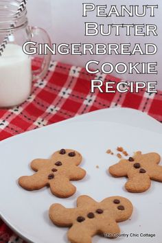 Peanut Butter Gingerbread Cookie Recipe -- one pinner says this is the best gingerbread she has ever eaten! #easyholidayideas