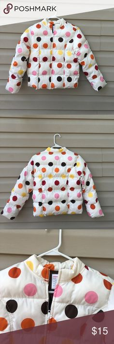 Gymboree girls white with polka dots puffy jacket Nice girls zip front jacket with side pockets, multi colored polka dots.100% polyester, no stains or holes. Gymboree Jackets & Coats Puffers