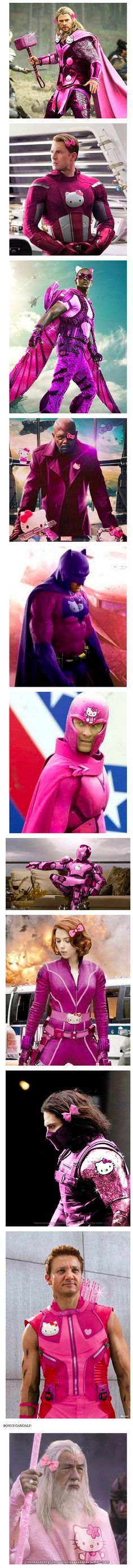 Turns out Photoshopping superheroes into Hello Kitty themed costumes is a thing that people are doing.