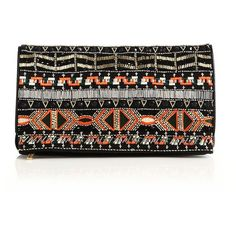 Alice + Olivia Me Small Multicolor Beaded Leather Fold-Over Clutch ($595) found on Polyvore featuring bags, handbags, clutches, apparel & accessories, multi, beaded clutches, black leather handbags, real leather handbags, beaded purse and leather purse