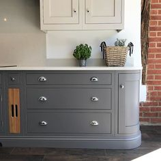 Soft greys for this beautiful handmade kitchen / Blackstone Kitchens Suffolk - Essex Farmhouse Kitchen Cabinets, Modern Farmhouse Kitchens, Rustic Kitchen, Home Kitchens, Brick Tiles Kitchen, Modern Kitchen Tiles, Soapstone Kitchen, Narrow Kitchen, Kitchen Cabinetry