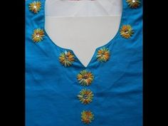 HAND EMBROIDERY:HOW- TO-DECORATE NECKLINE USING LAZY DAISY STITCH - YouTube