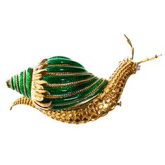 David Webb Paillonne Green Enamel Snail Brooch | From a unique collection of vintage brooches at https://www.1stdibs.com/jewelry/brooches/brooches/