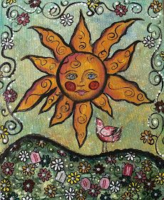 My Art Journal: Mixed Media Paintings Could use sun face card from the Framed Fun stamp set and add in other stamps.