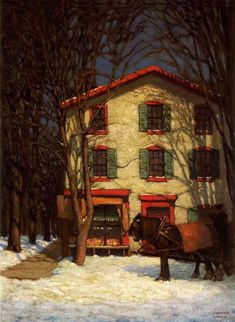 The Corner Store - Harris, Lawren (Canadian, 1885 - Fine Art Reproductions, Oil Painting Reproductions - Art for Sale at Galerie Dada Tom Thomson, Emily Carr, Canadian Painters, Canadian Artists, Winter Painting, Winter Art, Franklin Carmichael, Group Of Seven Paintings, Art Nouveau
