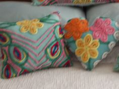 Pillows I made from vintage chenille bedspread.