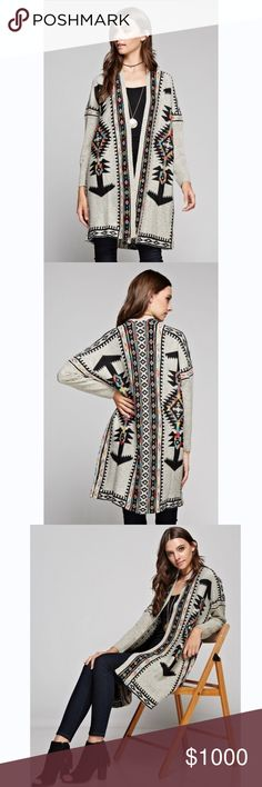 {20% Off} Boho Chimayo Printed Longsleeve Cardigan Boho chimayo printed cardigan featuring long sleeves, an open front, Ribbed trim at cuffs and multi color accent to make your outfit look fashionable! Pair it with our Leggings and Booties for a Perfect look! Material: Wool No Trades. Price is firm unless bundled. 10% off 2 or more items or 20% 3 or more items. GlamVault Jackets & Coats