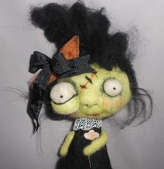 Ghoul Girl Needle  felted wool  art doll by papermoongallery, $59.00