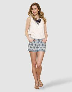 Cleto Denim Embroidered Shorts