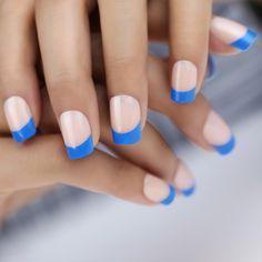 blaue french nägel