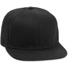 TOPMAN Black Herringbone Snapback Cap (24 CAD) ❤ liked on Polyvore featuring men's fashion, men's accessories, men's hats and black