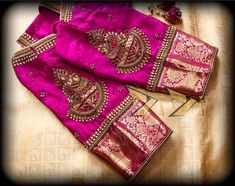 New Embroidery Blouse Indian Sleeve Ideas Cutwork Blouse Designs, Wedding Saree Blouse Designs, Pattu Saree Blouse Designs, Blouse Neck Designs, Wedding Sarees, Wedding Blouses, Sleeve Designs, Blouse Styles, Hand Work Blouse Design