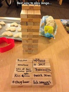 "Adult party game Jenga style #jenga #drinkinggames www.LiquorList.com ""The Marketplace for Adults with Taste!"" @LiquorListcom #LiquorList"