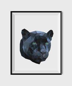 Geometric Panther Print, Modern animal Room Decor, Instant download Print, Animal print, Geometric poster, Polygonal modern art, Modern art by StudioUsh on Etsy https://www.etsy.com/listing/262782463/geometric-panther-print-modern-animal