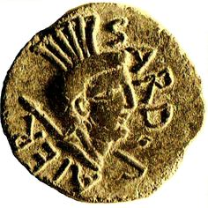 "Sardus Pater - coin minted under the Roman praetor Marcus Atius Balbus (60 BCE) . Sardus Pater was the eponym god of Nuragic Sardinians worshiped at the temple of Antas (SW coast of Sardinia), the ""Sardopatòros ieròn"" (temple of Sardus Pater) mentioned by the Greek geographer Ptolemy."
