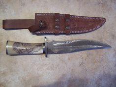Just Handmade / Custom Knives - Listings View Rams Head Scrimshaw Bowie Knife Custom Hunting Knives, Custom Knives, Cold Steel, Knifes, Bowie, Axe, Swords, Gears, Weapons