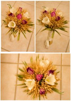 Wheat and purple Tulips with cream ribbon, happy day! The tulips could be replaced by roses.