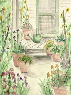 Print of Original Watercolor Painting matted 10x8 and ready to frame 14x11, Garden Porch - Robert Peppers Etsy