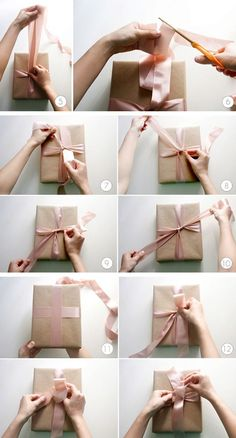If you've ever wondered how to wrap a perfect present, this tutorial is for you! No more wobbly boxes teetering on top of strangely twisted ribbons – just perfectly flat, perfectly wrapped boxes. Ribbon On Presents, Christmas Wrapping, Christmas Crafts, Craft Gifts, Diy Gifts, Handmade Gifts, Gift Wrap Box, Gift Wraping, Present Wrapping