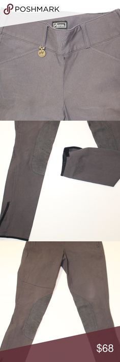 Pikeur Knee Patch Breeches EUC! EUC darker gray PIKEUR knee patch breeches. Wide waistband, slanted pockets, side zip closure with slide hook. Velcro leg closure. Made in Germany. size 24 L.  tags: riding, horseback riding, equestrian, barn, leggings, english, horse Pikeur Pants