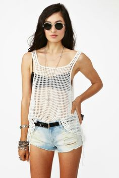 inspiration for a simple filet crochet overblouse or Beach cover-up