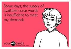 some days, the supply of available curse words is insufficent to meet my demands
