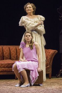 """COSTUMES - [Celia Keenan-Bolger (seated) and Cherry Jones in """"The Glass Menagerie""""] Picture of Amanda and Laura when """"The Glass Menagerie"""" got performed in a theater Theatre Stage, Musical Theatre, Theater, Cherry Jones, The Glass Menagerie, Sing Street, Broadway Tickets, Tennessee Williams, Entertainment"""