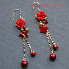 Red  Rose Fimo Flash Beads Earrings With Shell Stars