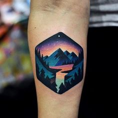 Ideas Of Cool Geometric Tattos Geometric Mountain Tattoo, Geometric Tattoo Nature, Geometric Tattoos Men, Tattoo Mountain, Geometric Tattoo Color, Colorful Mandala Tattoo, Geometric Sleeve Tattoo, Body Art Tattoos, New Tattoos