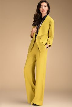 ad52dc43d66de 2013 Autumn Fashion Formal Womens High Waist YellowTrousers