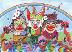 Three Clowns, Mushrooms and a Rainbow original acrylic Painting £95.00