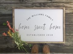 home sweet home family established What a gorgeous family established sign, this would look amazing in an entryway on the wall or a nice side table/. #rustic #homedecor #cute #diy #farmhouse #homesweethome #established