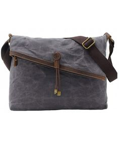 Crossbody Bags Waxed Canvas Vintage Genuine Leather Trim Fold Over Bag  Unisex - Gray - C917YU2AQGA dcdf068955