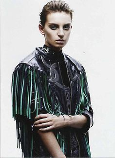 Rodarte's SS13 Fringed Leather Jacket in the March 2013 issue of Marie Claire Magazine.