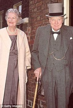 Lady and Mr. Churchill leaving London house.