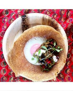 HAPPY PANCAKE DAY egg hopper with aubergine pickle, pomegranate & buffalo curd