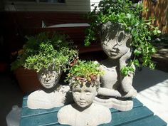 Garden Landscaping Perennials Creative Bling: Garden Maidens made from thrift store doll heads! Cement Art, Concrete Art, Concrete Garden, Concrete Planters, Garden Planters, Succulents Garden, Garden Beds, Garden Paths, Garden Whimsy