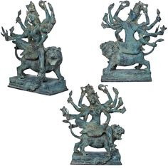 Get statues of Ten Armed Devi Durga Riding on her fierce lioin made of brass. Devi Durga identified a principal and popular form of the Hindu Goddess Parvati. She is a goddess of war, the warrior form of Parvati, whose mythology centres around combating evils and demonic forces that threaten peace, prosperity, and Dharma the power of good over evil. Fierce Lion, Hindu Statues, Brass Statues, India Art, Durga, Mythology, Exotic, Sculptures, Arms