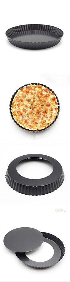 Non-stick 8 inch x 1.1 inch Deep Dish Pizza Pan with Removable Bottom, Round Ripple Dish