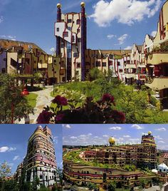 "The Hundertwasser building is another great example of a contemporary green roof that is as impressive as the architecture below it is bizarre. The Waldspirale (or ""forest spiral"") features over 100 apartments and wraps around a shared landscaped courtyard space with an actual flowing stream. The irregular forms and vibrant colors reflect the interests of the architect, who was both a designer and a painter."