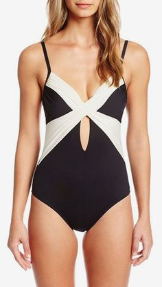 Kenneth Cole New York Women's Tribal Beat Underwire Wrap One Piece Swimsuit