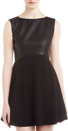 French Connection Faux-Leather and Ponte Fit-and-Flare Dress, Black on shopstyle.com
