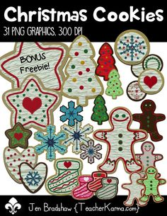Christmas Cookies clip art! You will absolutely LOVE these holiday sweets! They are perfect for your Teachers Pay Teachers products, holiday invitations, Christmas decorations, and scrapbook designers. Commercial and personal use is ok. TeacherKarma.com