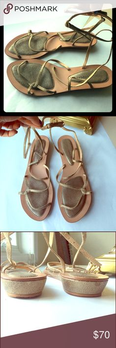 REBECCA MINCOFF Soft Golf Gladiator Sandals ankle These are so delicate and even more beautiful on the foot. Soft gold, gently worn a couple of times Rebecca Minkoff Shoes Sandals