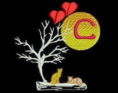 Monogramm D von Alphabet A - Z Verliebte Katzen in der Nacht mit Mond  Katzenbilder für Kinderbekleidung, Wandbehänge, Geschenkartikel, etc. Der