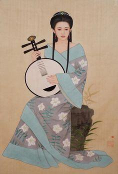 by Huixuan Zhao Chinese Design, Chinese Art, Afrique Art, Geisha Art, Japanese Calligraphy, Music Artwork, Japanese Prints, Japan Art, Chinese Painting